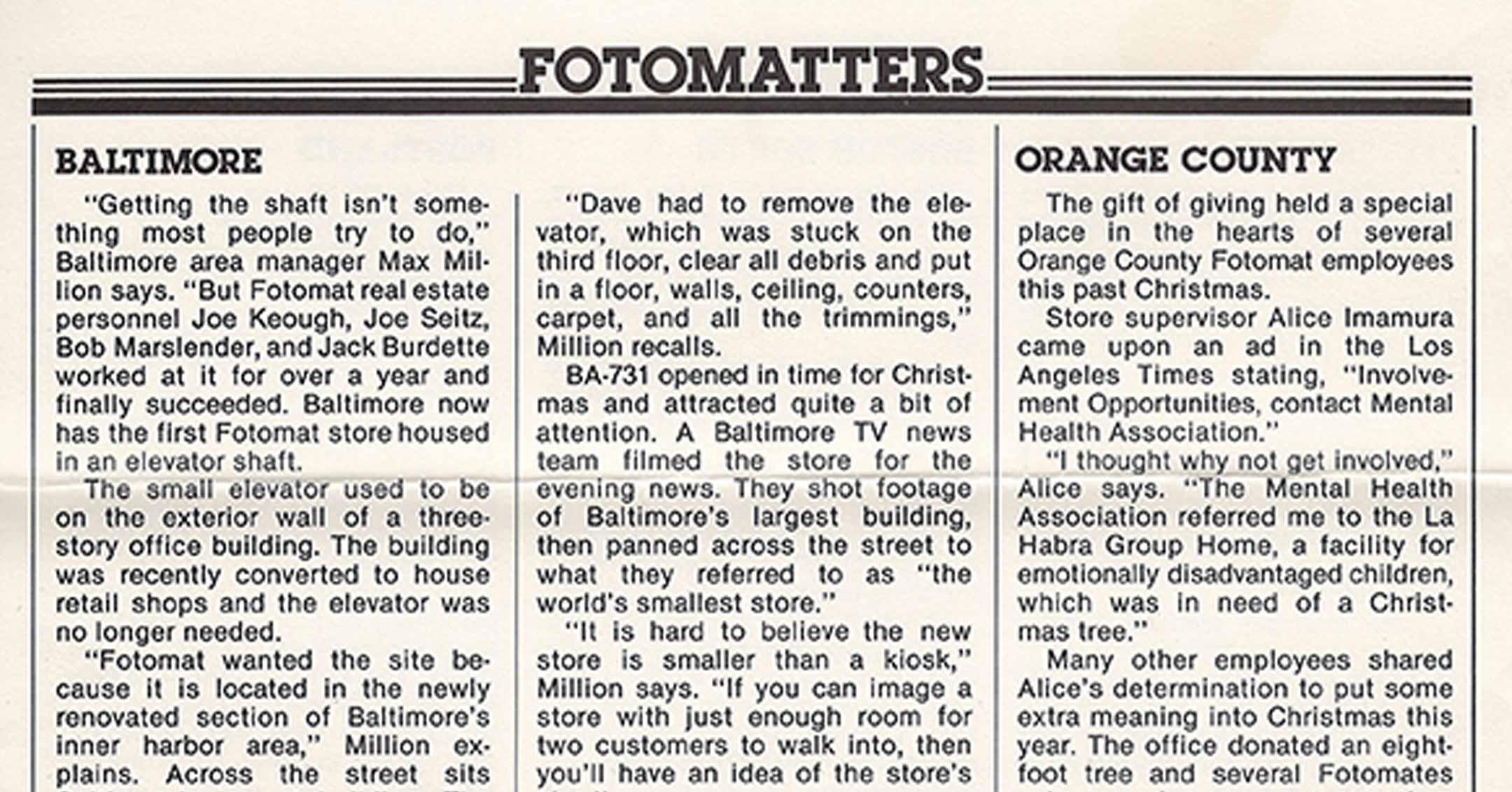 1977 Fotomat Newsletter